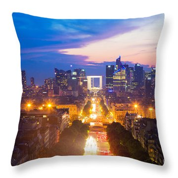 La Defense And Champs Elysees At Sunset In Paris France Throw Pillow by Michal Bednarek