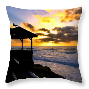 La Jolla At Sunset By Diana Sainz Throw Pillow by Diana Sainz