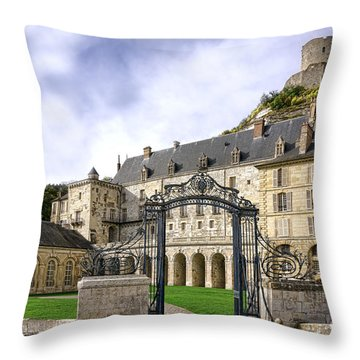 La Roche Guyon Castle Throw Pillow by Olivier Le Queinec