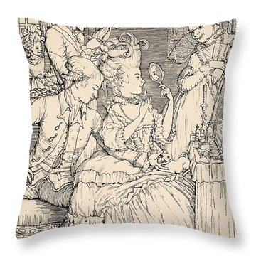 La Toilette Throw Pillow by Konstantin Andreevic Somov
