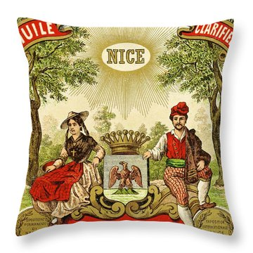 Label For Vercherin Extra Virgin Olive Oil Throw Pillow by French School
