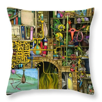 Laboratory Throw Pillow by Colin Thompson
