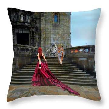 Lady And The Tigers Throw Pillow by Amanda Struz