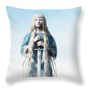 Lady Of The Lake Throw Pillow by Melissa Krauss