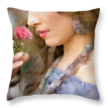 Lady With Pink Rose Throw Pillow by Angela A Stanton