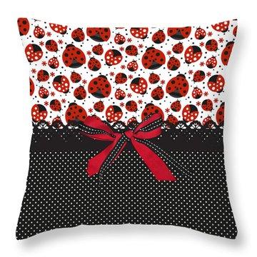 Ladybug Energy  Throw Pillow by Debra  Miller