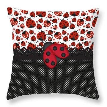 Ladybug Mood  Throw Pillow by Debra  Miller