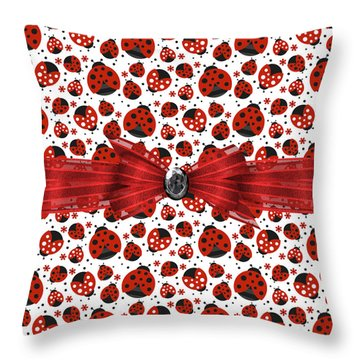 Ladybug Obsession  Throw Pillow by Debra  Miller