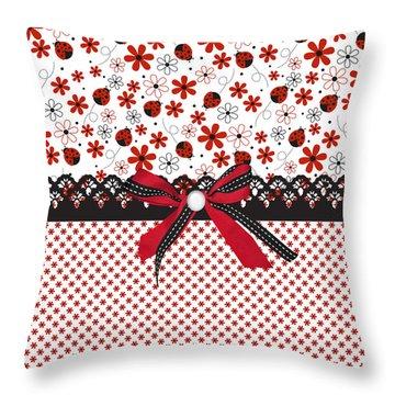 Ladybug Whisper  Throw Pillow by Debra  Miller