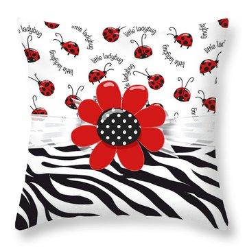 Ladybug Wild Thing Throw Pillow by Debra  Miller