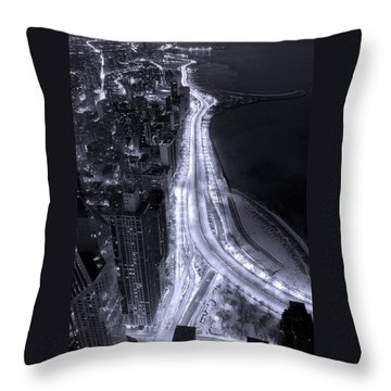 Lake Shore Drive Aerial  B And  W Throw Pillow by Steve Gadomski