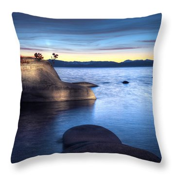 Lake Tahoe Bonsai Rock Throw Pillow by Dianne Phelps