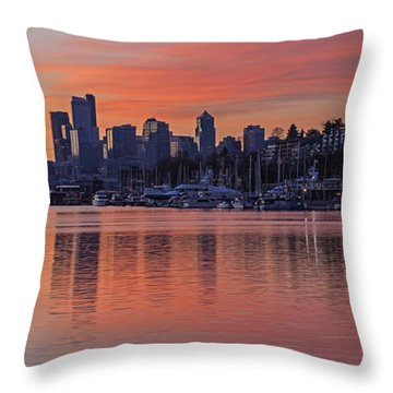 Lake Union Dawn Throw Pillow by Mike Reid