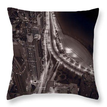 Lakeshore Drive Aloft Bw Warm Throw Pillow by Steve Gadomski