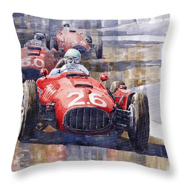 Lancia D50 Monaco Gp 1955 Throw Pillow by Yuriy  Shevchuk