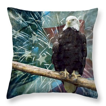 Land Of The Free Throw Pillow by Terry Weaver