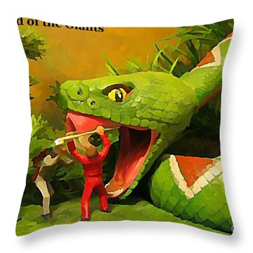 Land Of The Giants Throw Pillow by John Malone