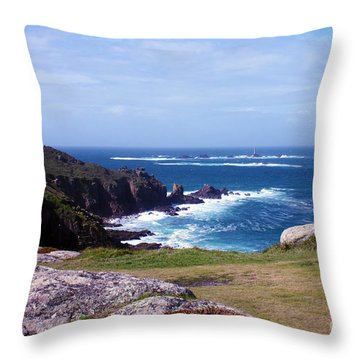Land's End And Longships Lighthouse Cornwall Throw Pillow by Terri Waters