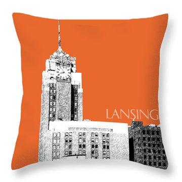 Lansing Michigan Skyline - Coral Throw Pillow by DB Artist