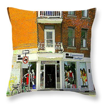 L'appartement Boutique Fashions Trendy Chic Clothing Store Ave Du Mont Royal City Scene  Throw Pillow by Carole Spandau