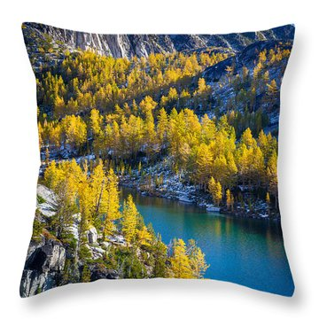 Larches At Perfection Lake Throw Pillow by Inge Johnsson