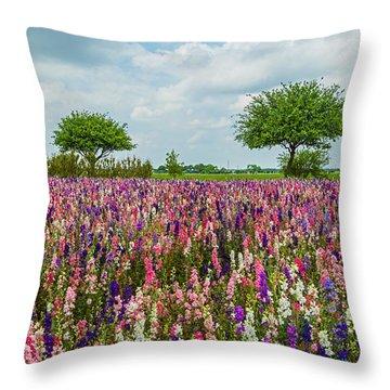 Larkspur Fields Forever Throw Pillow by Lynn Bauer