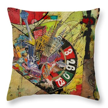 Las Vegas Collage Throw Pillow by Corporate Art Task Force