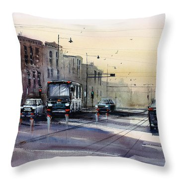 Last Light - College Ave. Throw Pillow by Ryan Radke