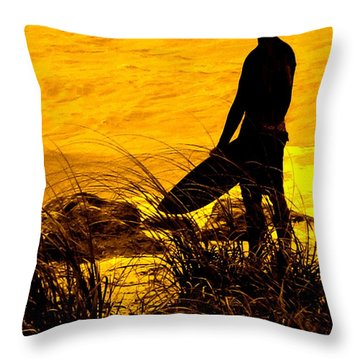 Last Surfer Standing Throw Pillow by Ian  MacDonald