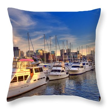 Late Afternoon At Constitution Marina - Charlestown Throw Pillow by Joann Vitali