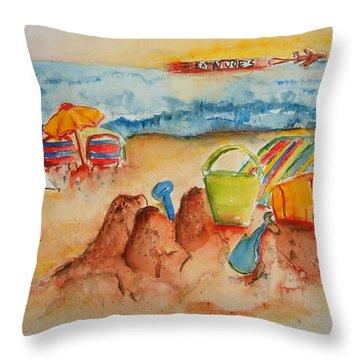 Late Afternoon Beach Throw Pillow by Elaine Duras