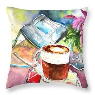 Latte Macchiato In Italy 01 Throw Pillow by Miki De Goodaboom