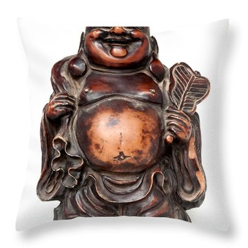 Laughing Buddha Throw Pillow by Fabrizio Troiani
