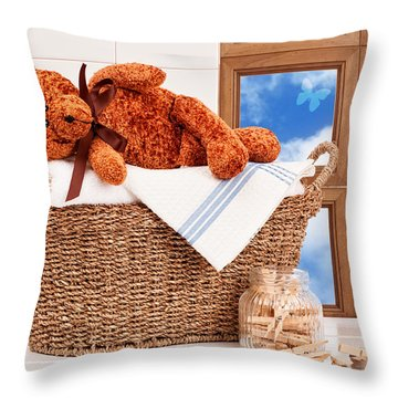 Laundry With Teddy Throw Pillow by Amanda Elwell