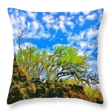 Lava And Keawe At Makena Beach Throw Pillow by Dominic Piperata