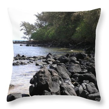 Lava Rocks Throw Pillow by Mary Deal