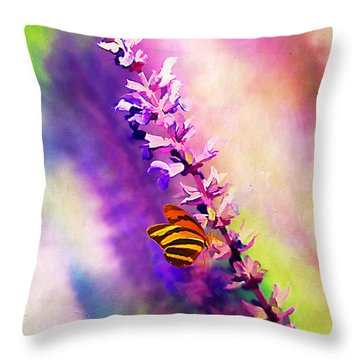Lavender And Butterlies Throw Pillow by Darren Fisher