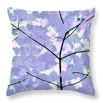 Lavender Blues Leaves Melody Throw Pillow by Jennie Marie Schell