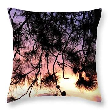 Lavender Sunset Painting Throw Pillow by Will Borden