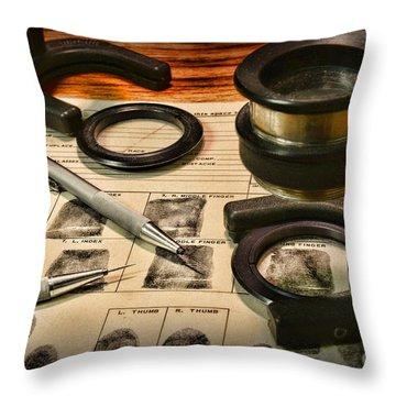 Law Enforcement - Fingerprint Analysis Throw Pillow by Paul Ward