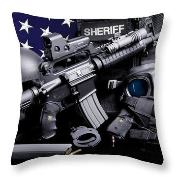 Law Enforcement Tactical Sheriff Throw Pillow by Gary Yost