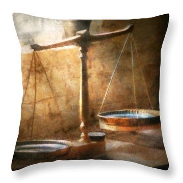 Lawyer - Scale - Balanced Law Throw Pillow by Mike Savad