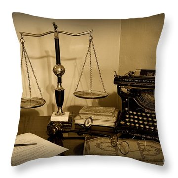 Lawyer - The Lawyer's Desk In Black And White Throw Pillow by Paul Ward