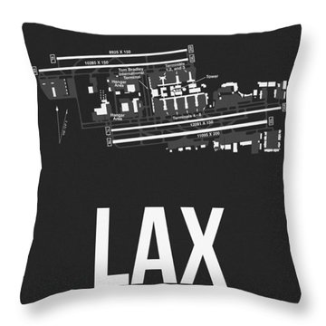 Lax Los Angeles Airport Poster 3 Throw Pillow by Naxart Studio