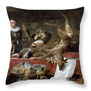 Le Cellier Oil On Canvas Throw Pillow by Frans Snyders or Snijders