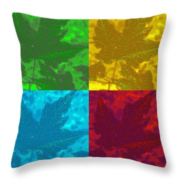 Leaf Pop Art Throw Pillow by Barbara McDevitt