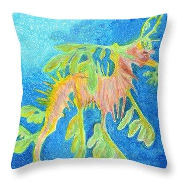 Leafy Seadragon Throw Pillow by Tanya Hamell