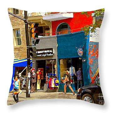 Leather Garments Cuir Monde Mont Royal Scala Pour Hommes Busy Montreal City Scene Carole Spandau  Throw Pillow by Carole Spandau
