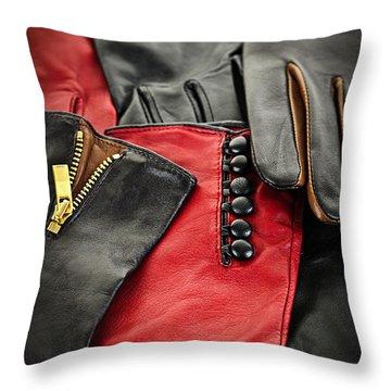 Leather Gloves Throw Pillow by Elena Elisseeva