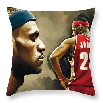 Lebron James Artwork 1 Throw Pillow by Sheraz A